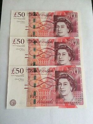 3 X Chris Salmon  £50 Notes In Consectutive Order