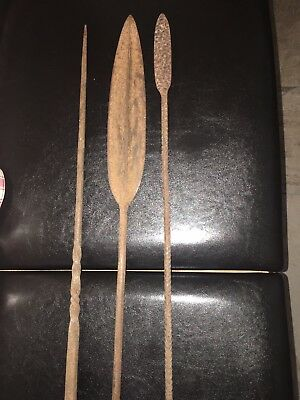 Collection Of Three Metal African Spearheads