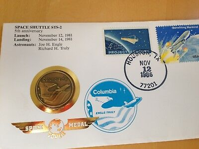 Space Shuttle Sts - 2 ** Numisbrief Usa Aus 1986 Mit Space Medal Columbia