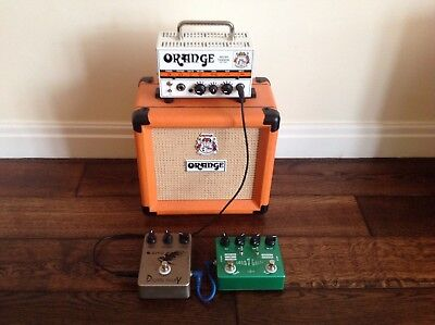 Orange Micro Terror Amplifier With 20 Watt Cab and Delay and Overdrive pedals.