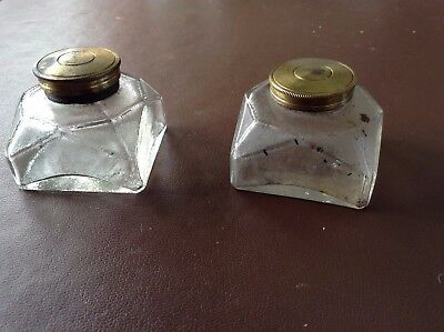 Pair of Ink wells for writing slopes