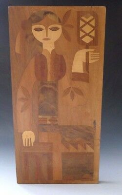 Vintage Russian wooden marquetry picture