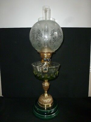 Victorian Large / Tall Oil Lamp With Funnel And Etched Shade