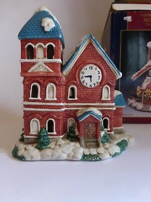 Vintage Porcelain Christmas village house hand painted 7.5 inches RARE