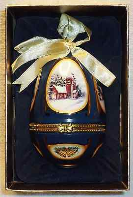 2006 Mr. Christmas decorated egg shaped Christmas ornament musical - (church)