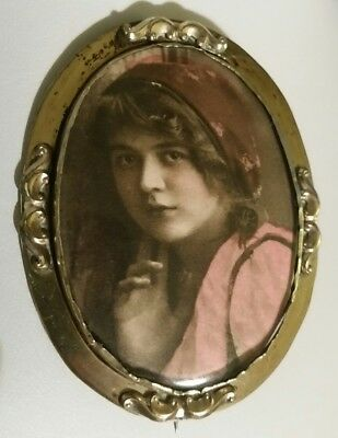 Victorian /Edwardian Pinchbeck Brooch - print / hand coloured photo - young girl