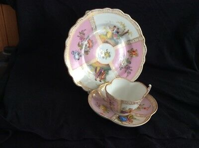 Antique Dresden Cabinet Cup Saucer And Tea Plate 19 Century