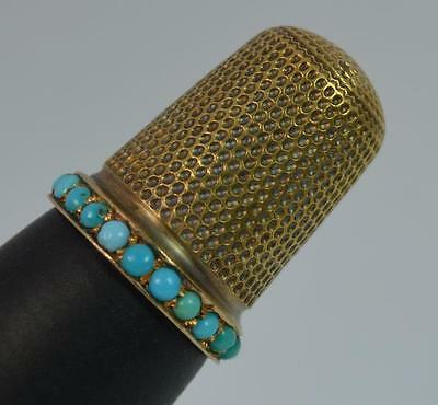 Antique ASPREY 15ct Gold & Turquoise Thimble in Fitted Box d1733