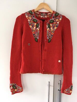 Vintage 1940s Floral Embroidered Cardigan Orange best fit approx uk 8 or 10
