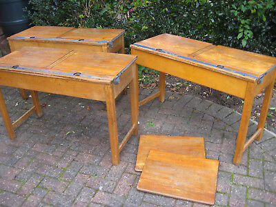 Original wooden school desks doubles x3 1950's