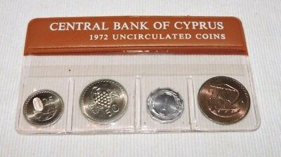 Cyprus 1972 Official Complete Unc Coins Set In Central Bank Blister Only 3000!!!