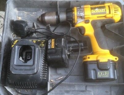 DeWALT DC981 12v XRP Cordless hammer drill, battery and charger And Case