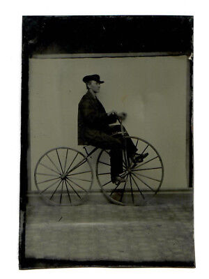 Tintype Photo Bicycle Wooden Tires Wheels Boneshaker 1800s