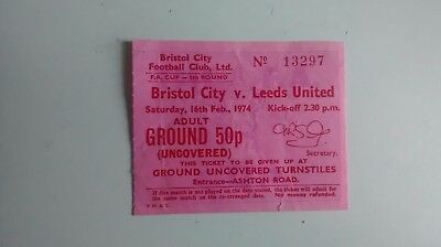 1974 BRISTOL CITY v LEEDS UNITED TICKET STUB FA CUP 5TH ROUND BCFC LUFC