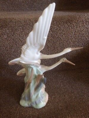 Nao By Lladro- Set Of 2 Ornaments, Herons/cranes/birds-Perfect