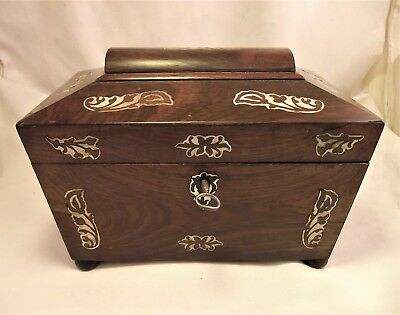 Victorian Rosewood & Inlaid Mother Of Pearl Tea Caddy - Complete