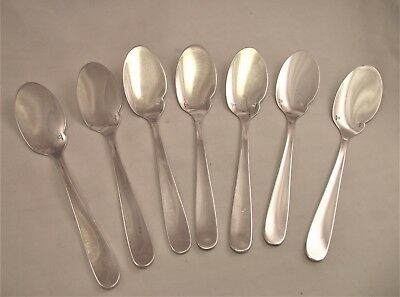 7 Christofle French Silver Plated Spoons - Flat Bowl - Hors D'oeuvres Spoons
