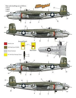 B-25 Mitchell Decal set, 340th Bomb Group, 488th Squadron  1/72, 1/48 & 1/32 NEW