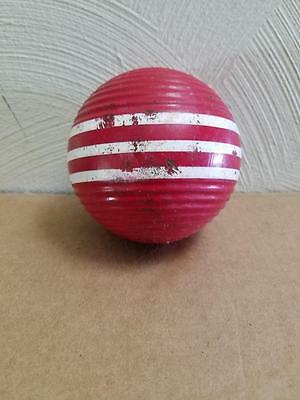 Vintage 10.5 Red Ribbed Triple Stripe Wooden Croquet Replacement Ball