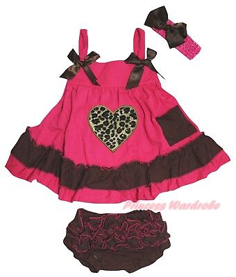Leopard Heart Baby Girls Hot Pink Brown Swing Top Bloomer Outfit Set NB-2Y
