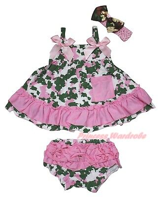 Plain Baby Girls Camouflage Light Pink Swing Top Bloomer Outfit Set NB-2Y