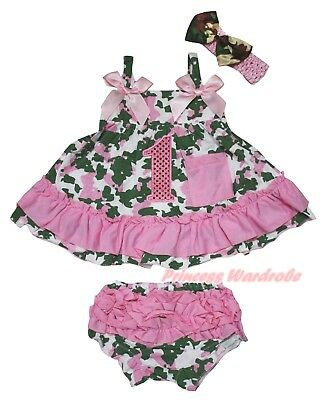 1st Sequins Baby Girls Camouflage Light Pink Swing Top Bloomer Outfit Set NB-2Y
