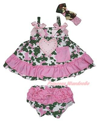 Pink Heart Baby Girls Camouflage Light Pink Swing Top Bloomer Outfit Set NB-2Y