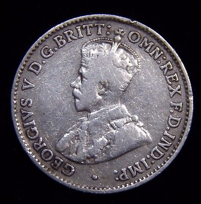 RARE Australia 3 Pence 1923 CH VF to XF Details, George V, Nice Silver Coin!