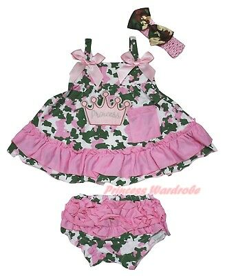 Crown Princess Baby Girls Camouflage Light Pink Swing Top Bloomer Outfit NB-2Y