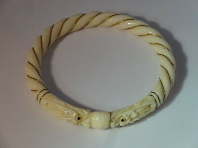 Antique Bovine Bone Chinese Carved Dragon Bracelet Bangle