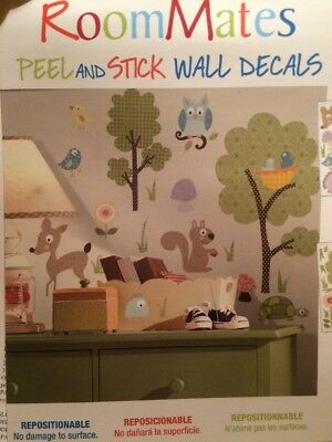 Roommates Peel And Stick Wall Decals Animals Forest Trees Deer Fox USA