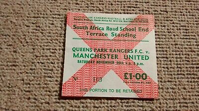 1977/78 QPR v MANCHESTER UNITED TICKET STUB 26/11/77 MAN U QUEENS PARK RANGERS
