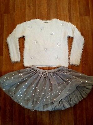 Next 8- 9-10 Years Christmas Outfit Fluffy Diamond Jumper Silver Tu-Tu Skirt