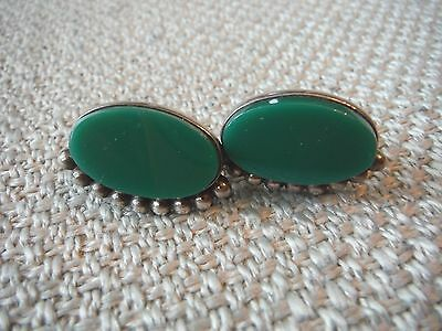 Vintage Taxco Mexico Mexican Screw Back Earrings W. Green Onyx-Signed Bra-925