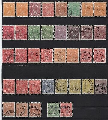 AUSTRALIA: George V Heads x 37 stamps Mounted Mint and Used & Officials
