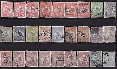 Australia Collection George V various to 1/- Kangaroo Issues x 27 stamps
