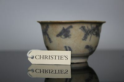 A Chinese blue & white shipwreck cargo cup with birds and seal mark 17th/18thc
