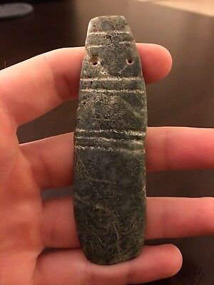 Large Nicoya Jade Axe God Pendant Pre-Columbian Archaic Ancient Artifact Mayan