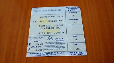 1982/83 SHEFFIELD WEDNESDAY v WOLVES TICKET STUB 09/10/82 SWFC WWFC