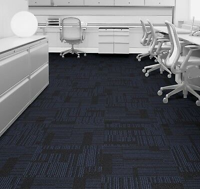 219 available - NEW Interface Black/Blue Carpet Tiles £1.79each