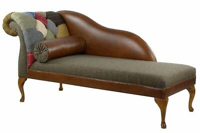 LHF Harris Tweed patchwork chaise longue genuine leather