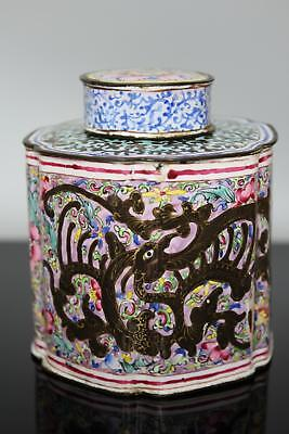 A Chinese Canton enamel tea caddy with mythical beasts Qianlong period 18thc