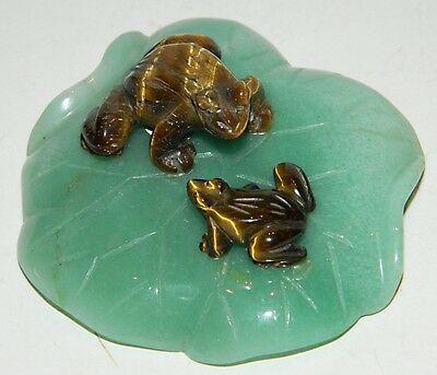 Hand Carved Tiger Eye Stone Frogs on Jade Lily Pad