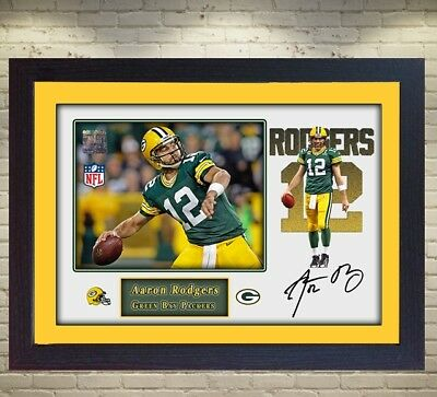 Aaron Rodgers Green Bay Packers NFL signed autograph American Football Framed
