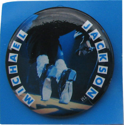 Michael Jackson Badge Pinback Button Metal Dancing Feet OFFICIAL 1984 NEW
