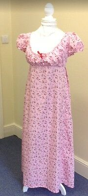 Made To Order Puff Sleeved  Regency Style Cotton Gown