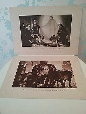 Vintage Religious Prints Christian  death of St Anthony