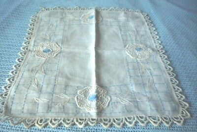 """vintage hand embroidery table runner w flowers design & trim 16"""" x 21"""""""