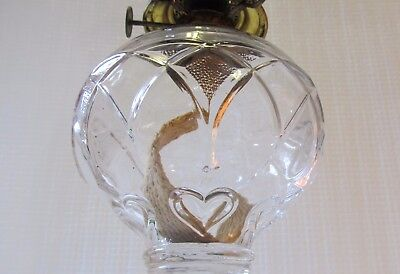 Rare Antique Gothic Arch Arrows And Hearts Glass Oil Lamp Eagle Burner Eapg