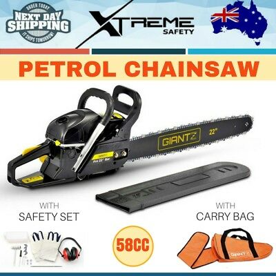"58CC Commercial Petrol Chainsaw 22"" Bar Giantz Tree Pruning Chain Saw E-Start"